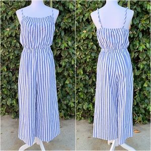 Wide Leg Linen Blue and White Striped Jumpsuit